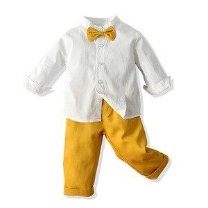 Image 3 - Ropa de niño pequeño, camisa blanca + Pantalones amarillos, traje para niño de 1 a 6 T, traje de otoño, conjunto de ropa infantil con lazo amarillo