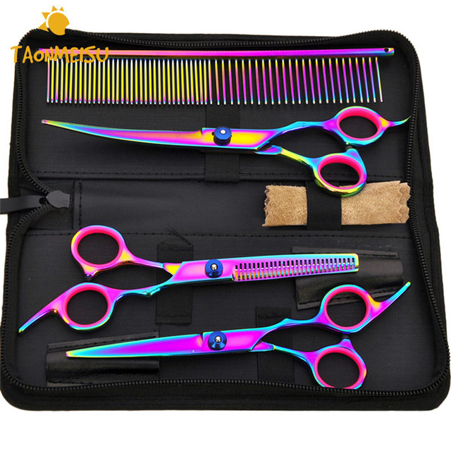 7 Inch  Colorful Professional Dog Grooming Scissors Set Pet  Curved Flat Tooth Scissors Comb Animals Hair  Cut Tool Newest