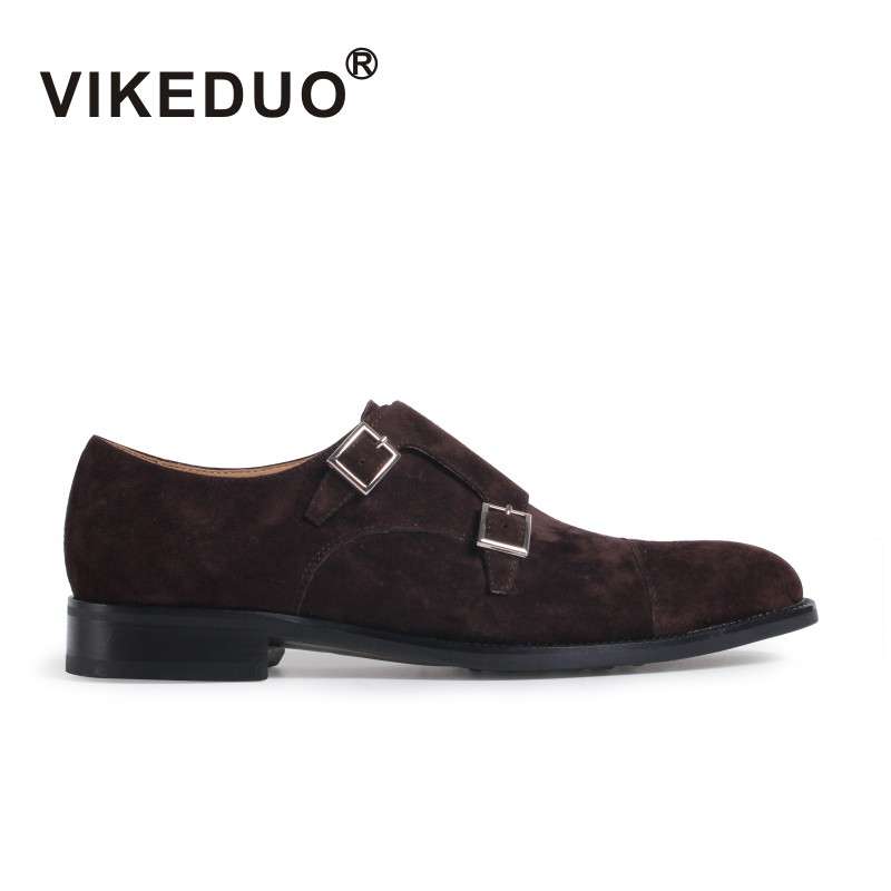 VIKEDUO Handmade men 39 s Monk Shoes Full Grain Genuine Leather Double Buckle fashion business office party wedding shoes original in Formal Shoes from Shoes