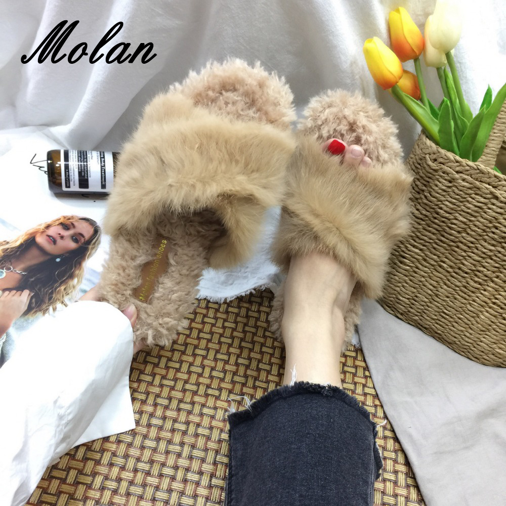 MOLAN Brand New Fashion Cross Tied Flat Platform Winter Shoes Woman Fur Slides Soft Rabbit Hair Slippers Slip On Loafers Mules miulamiula brand designers 2018 fashion rabbit hair woman flat slides lady shoes furry slippers slip on loafers mules flip flops