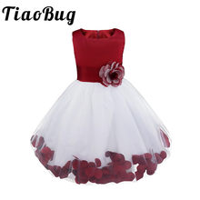 TiaoBug Brand New Flower Petals Dresses Girls Bridesmaid Elegant Dresses Princess Girls Pageant Prom Gown First Communion Dress(China)