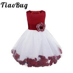 Tiaobug marca nova flor pétalas vestidos meninas dama de honra vestidos elegantes princesa meninas concurso vestido de formatura primeiro comunhão vestido