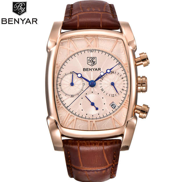 BENYAR Chronograph Sport Men Watches 2019 Luxury Brand Gold Rectangle Watch Men Leather Band Waterproof Quartz Wristwatch mens