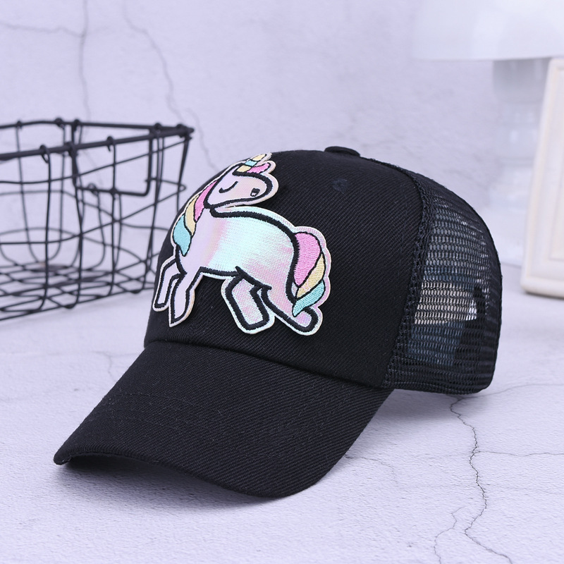a8d480812 US $8.99 40% OFF|Kids Embroidery Unicorn Baseball Cap Black White Mesh Sun  Hat Adjustable Cotton Snapback Cap-in Baseball Caps from Apparel ...