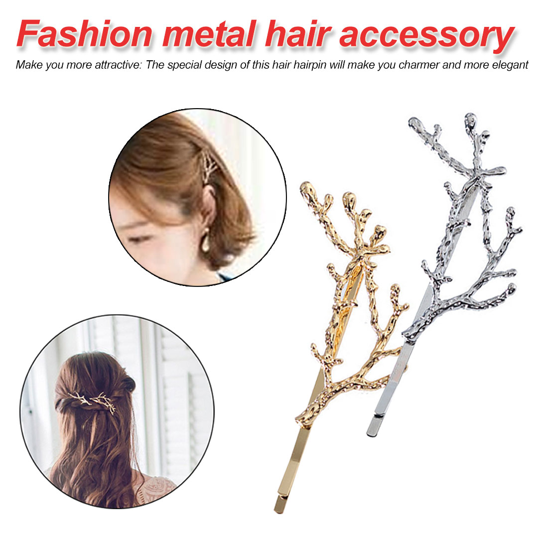Golde Silver Tree Branches Metal Women Hair Clips Hairpins Hair Accessories in Women 39 s Hair Accessories from Apparel Accessories