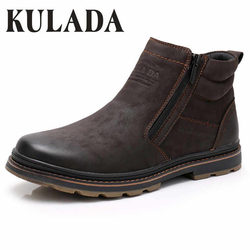 KULADA kışlık botlar erkekler kar yarım çizmeler yüksek kaliteli el yapımı açık iş çizmeleri Vintage stil erkekler sıcak kış ayakkabı