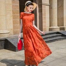 fafdb070faa15 Été de Haute Qualité Dentelle Robe Longue Piste De Mariage Maxi Robe Partie  de Soirée de Femmes Designer Orange Longue Robe 6810