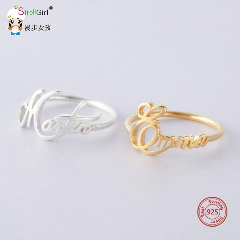 925 Sterling Silver Personalised Customizable Child Name Ring Cursive Name Ring For Women Romantic Couple Ring