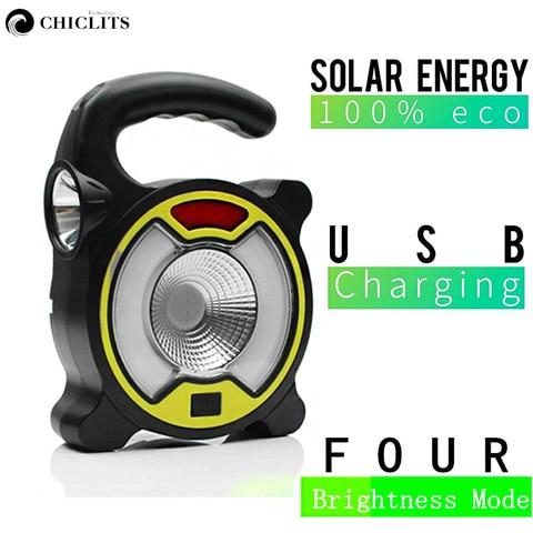 nova luz solar conduziu a lampada de acampamento lanterna portatil 4 modos de lampada com