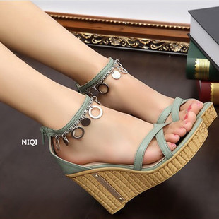 Designed 2015 string bead shoes woman women's sandals fahsion platform wedges sweet gladiator women LX07 - Focalbox store