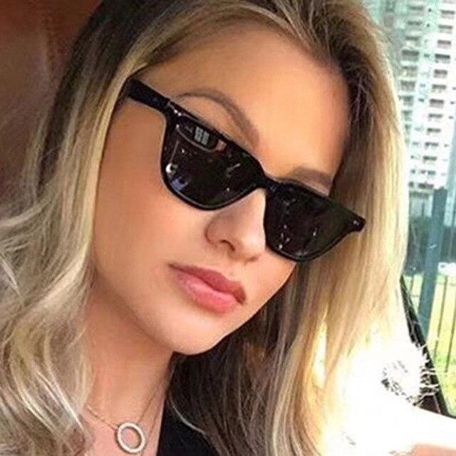 FEISHINI 2019 Estreito Óculos De Sol Das Mulheres Marca de Design Retro  Transparente Colorido Moda olho cbda58fc4c