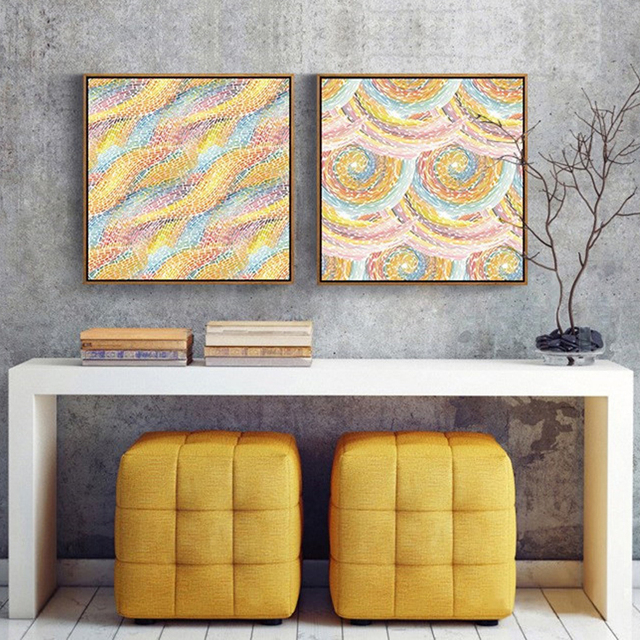 HAOCHU Gorgeous Spiral Circle Shape Geometric Picture Modern Art Wall Poster Gold Wave Print Canvas Painting for Home Decor