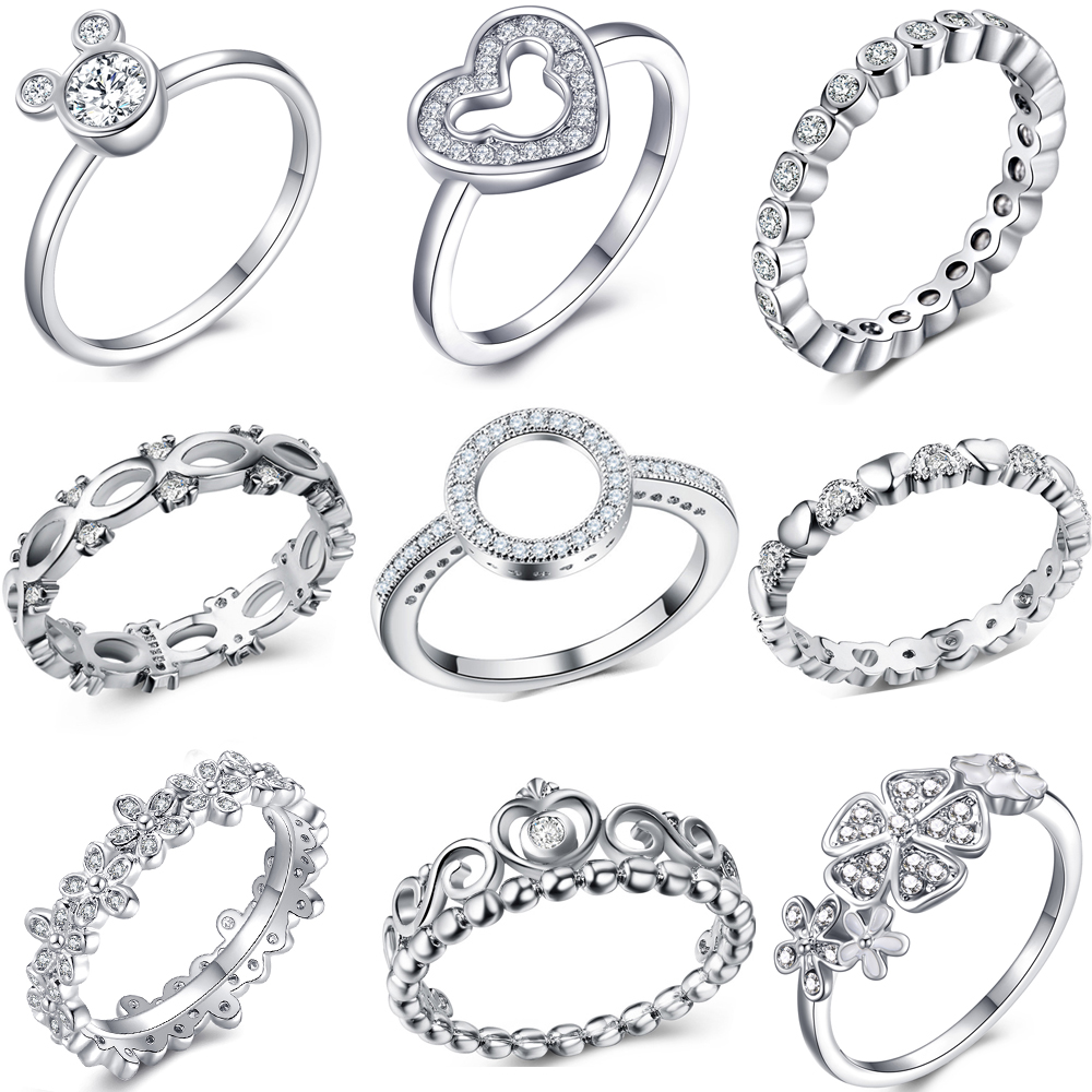 Fashion Crystal Silver Color Ring For Women Flower Love Heart Crown Finger Rings Cocktail Part Pandora Ring Jewelry Dropshipping(China)
