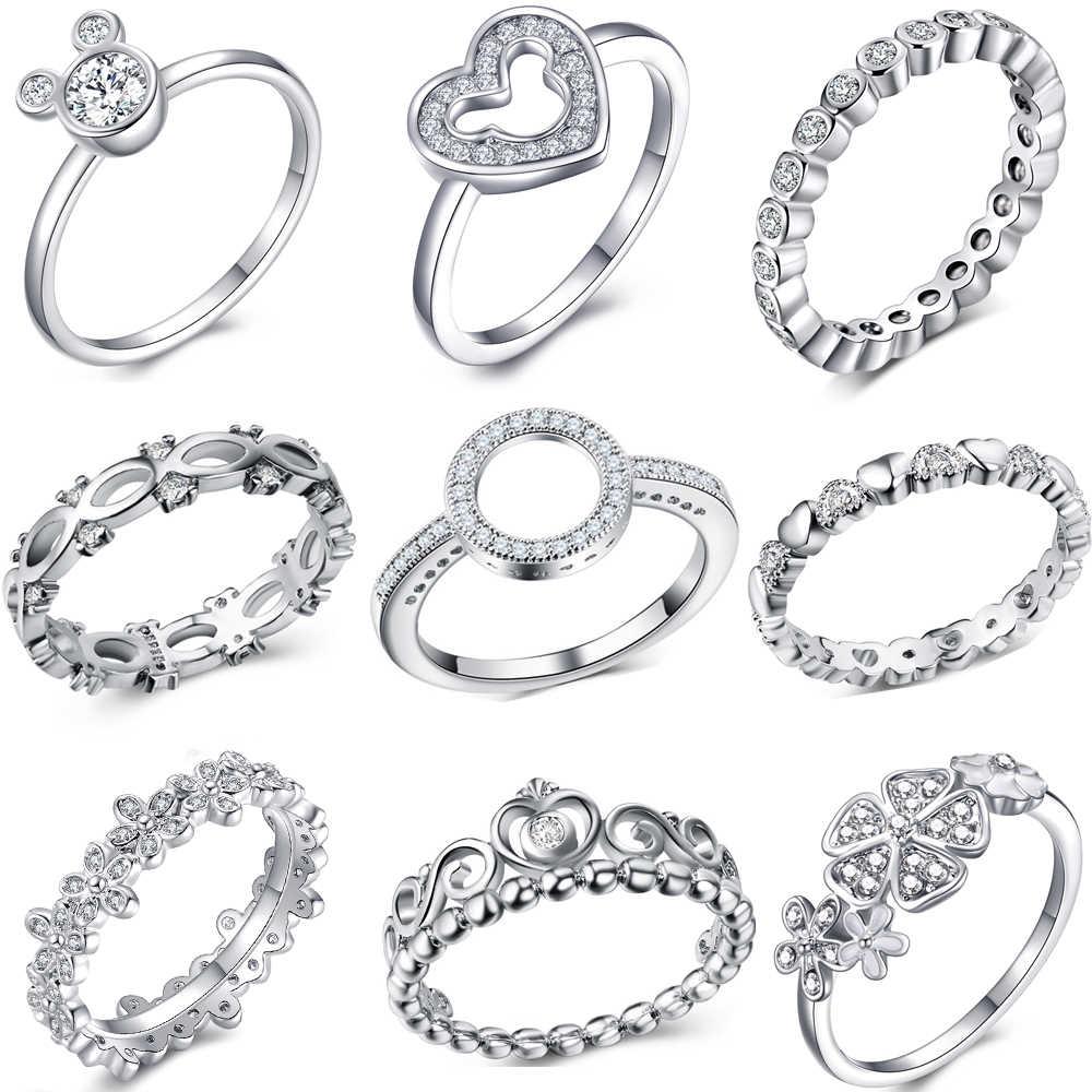 Модное Кристальное серебряное кольцо для женщин, цветок любовь, сердце, корона, кольца на палец, коктейльное Фирменное кольцо, ювелирное изделие, Прямая поставка