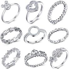 Moda kryształ kolor srebrny pierścień dla kobiet kwiat miłość serce korona pierścienie koktajl część markowy pierścionek biżuteria Dropshipping tanie tanio octbyna Miedzi Ze stopu cynku Kobiety Zaręczyny Napięcie ustawianie Nastrój tracker TRENDY Wszystko kompatybilny Zespoły weselne