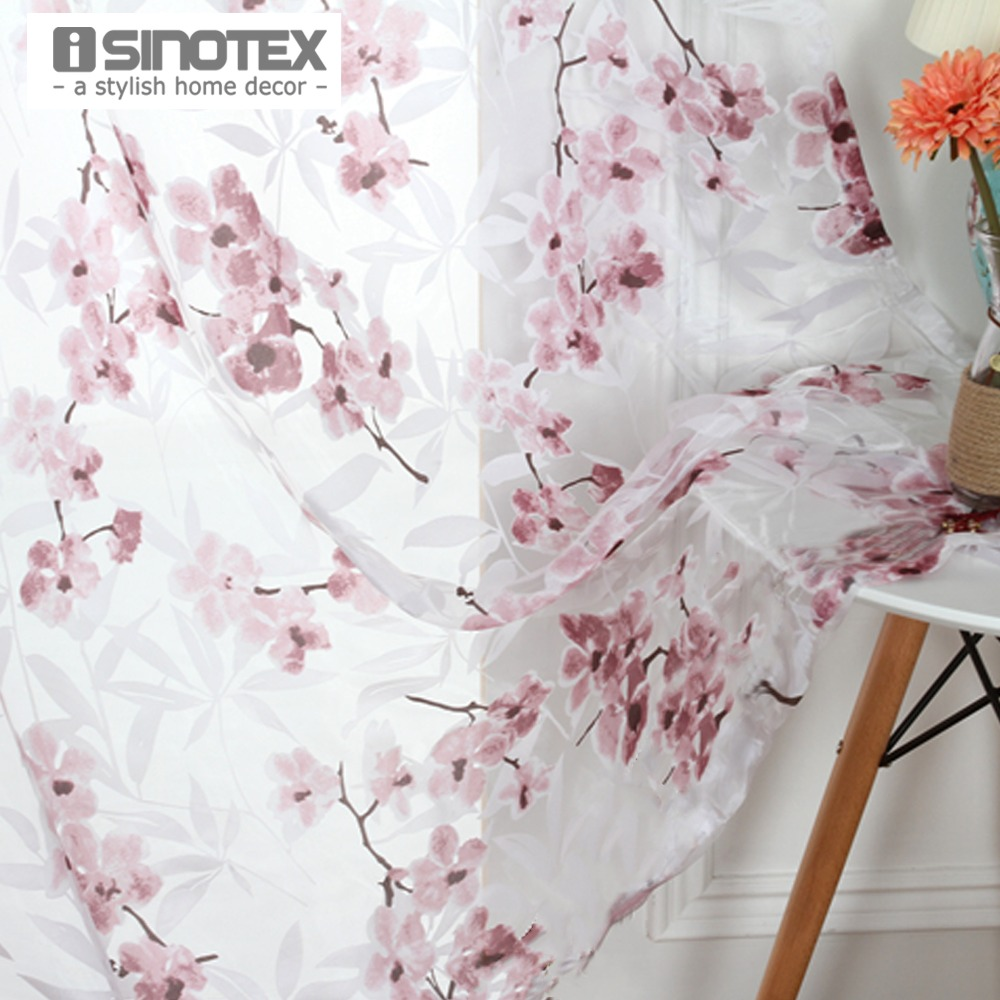 Isinotex window curtain flower printed printed for Sheer galaxy fabric
