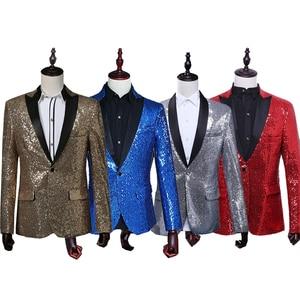 Image 2 - PYJTRL Mâle Slim Fit Veste De Mode Or Royal Bleu Rouge Silver Sequin Blazer Hommes Stage Porter Blazer Designs Costumes Pour chanteurs