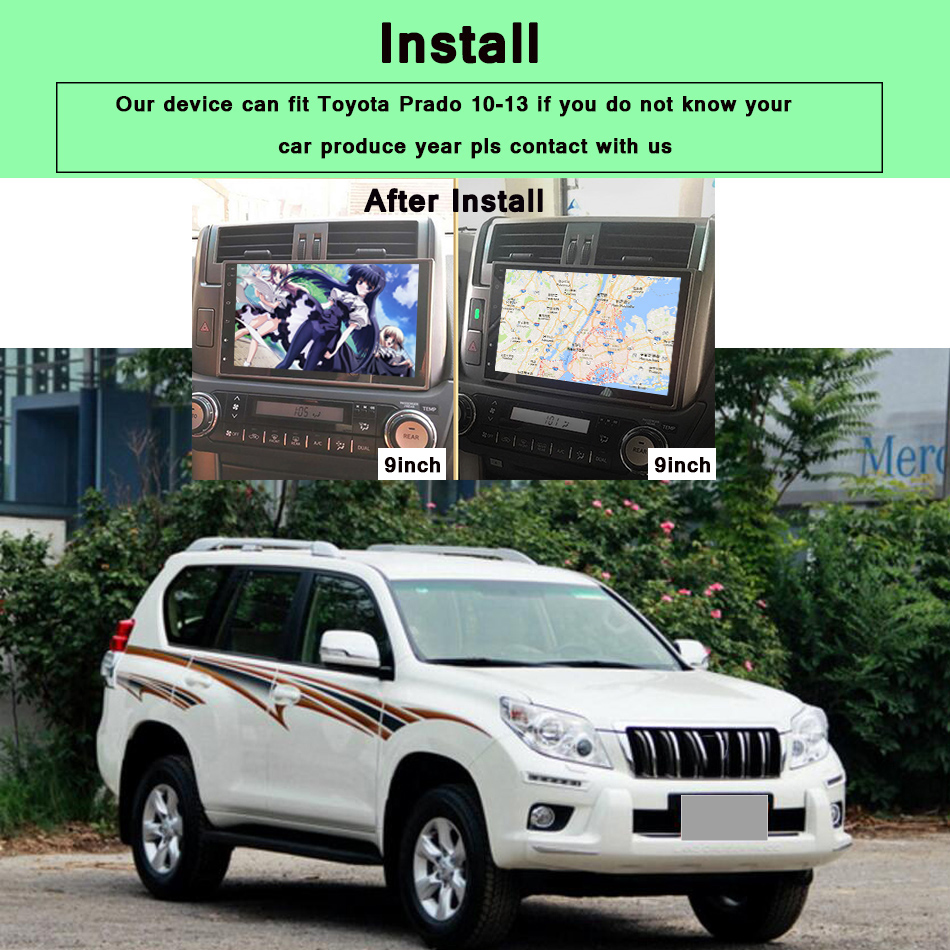 """Flash Deal 9"""" Android 9.0 Car Stereo radio Audio for Toyota Prado 150 2010 11 2012 2013 1024*600 Octa Core Multimedia 2 din car dvd player 1"""