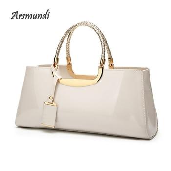 Arsmundi 2018 Women Evening Bag Fashion Light Rubber Patent Leather Elegant Handbag Shoulder Wedding Bridal Bag Banquet Bolsa