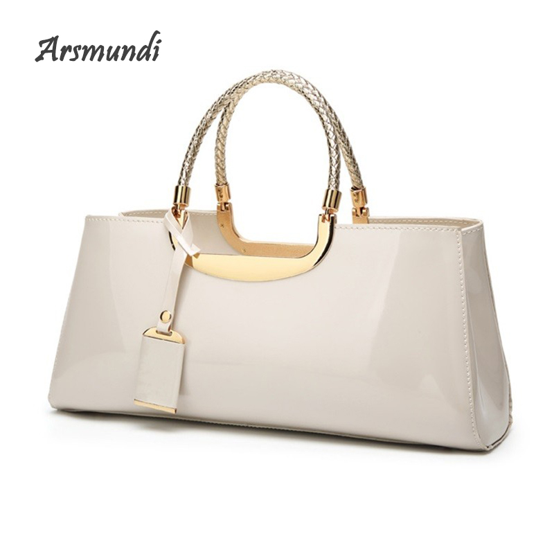Arsmundi 2018 Women Evening Bag Fashion Light Rubber Patent Leather Elegant Handbag Shoulder Wedding Bridal Bag Banquet Bolsa
