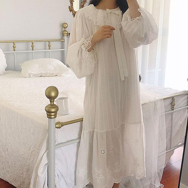 Womens Palace Style Dress Vintage Princess Sleepshirts.Lolita Lace Bow Nightgowns.Victorian Nightdress Ruffles Lounge Sleepwear