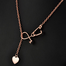 Hot 4 Colors Unisex ER Stethoscope Heart Alloy Chain Pendant NecklaceFor Women men the Doctor Nurse Fashion Jewelry