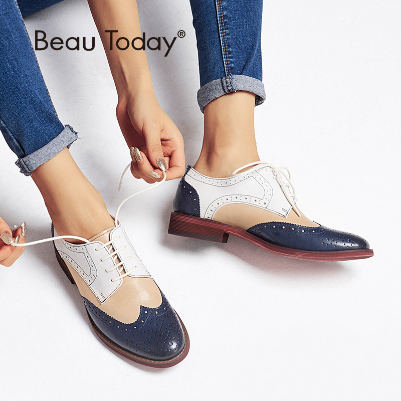 BeauToday Brogue Pantofi Culori Mixte Wingtip Top Brand Genuine Leather Handmade Lace-Up Round Toe Ceara de Piei de Oaie 21025
