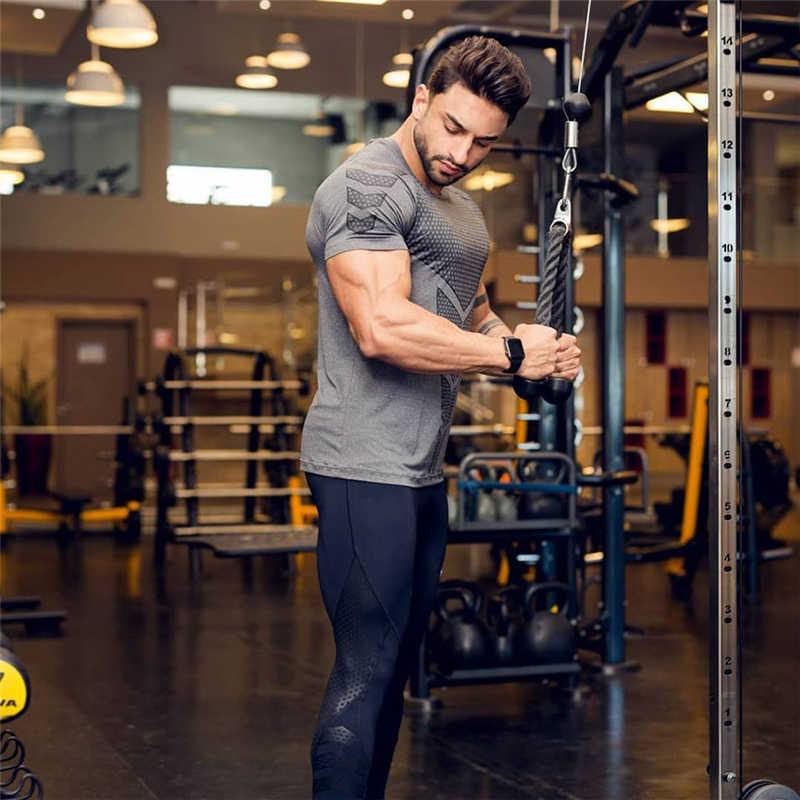 Новинка 2019, Мужская компрессионная футболка для тренажерного зала, фитнеса, облегающая, эластичная, для бодибилдинга, Workou, футболка s, мужские черные футболки, топы, брендовая одежда