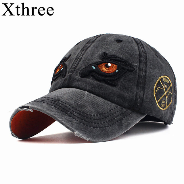 b37231a8153 Xthree 100% Washed Cotton Baseball Caps Men Snapback Dad Hat for Women cap  Embroidery Eye Casquette Gorras Planas snapback Hat