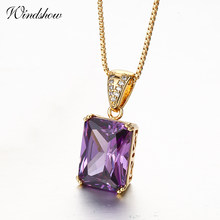 Grande princesse coupe Rectangle violet CZ Suspension colliers et pendentifs chaîne femmes bijoux Collares Mujer Collane kolye ketting(China)