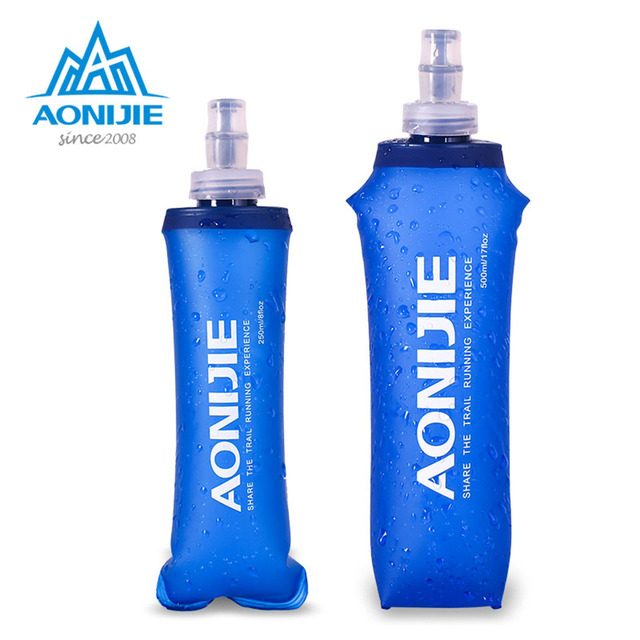 AONIJIE 250ml 500ml Folding Soft Flask Lightweight Running Sport Water Bag with Silicone Cap Portable Hiking Cycling WaterBottle