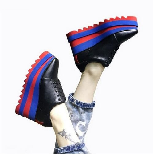 Grueso Oxford Suave As Plataforma Picture Lace Wedge Mujeres Bomba Picture De Tacones Patchwork as Cuero Up Mujer Zapatos Casual Elyse Altos fIw7Tq