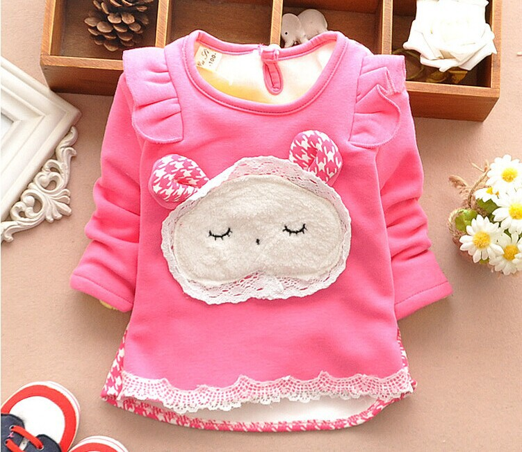 On Sale new baby girls sweater thickened cashmere o-neck full sleeve girls winter clothes A186