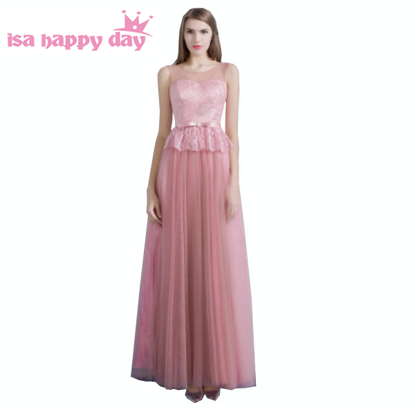 Peplum hauts dentelle fille mariées longue formelle tulle robe femmes demoiselles d'honneur robes de soirée différents décolletés sous 100 H3617