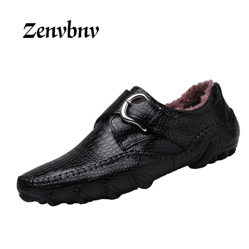 ZENVBNV New Design 2017 winter Fur Keep warm Men Flat Shoes Soft Genuine Leather Male Moccasin Driving Loafers snow casual Shoes new arrival high genuine leather comfortable casual shoes men cow suede loafers shoes soft breathable autumn and winter warm fur
