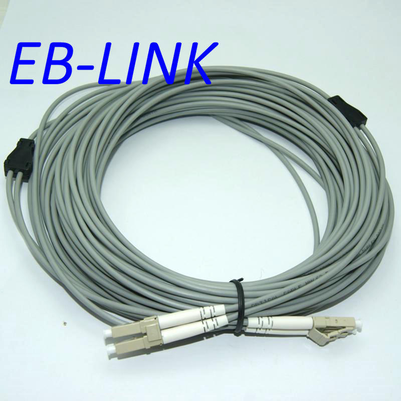 INDOOR ARMORED 25METERS LC-LC DUPLEX OM1 62.5/125 MULTIMODE FIBER OPTIC CABLE PATCH CORD JUMPER