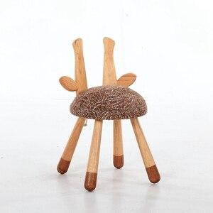 Image 5 - חם מיהר פוף Poire Taburetes כיסא נורדי מוצק עץ ספסל ביתי החלפת נעלי שרפרף עגול ילדי קריקטורה בעלי החיים