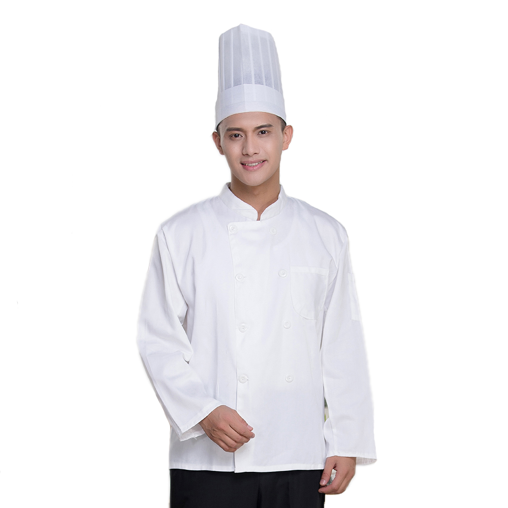 White Double-breasted Long Sleeve Chefs Jacket Cooks Clothes Waiter Uniform Restaurant Food Service Kitchen Man Woman Workwear
