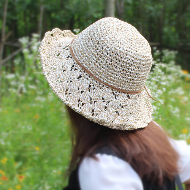 Chapeau Femme plegable ala grande sombreros del ganchillo del knit ...