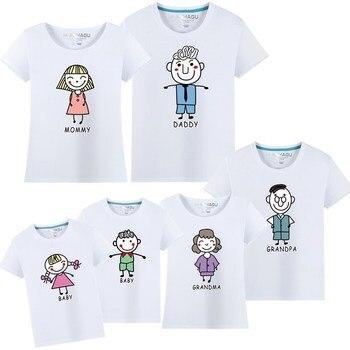 2018 nueva camiseta de manga corta para la madre y la hija Camisa de algodón de las mujeres ropa de las muchachas encantadora familia que empareja la camisa de la ropa