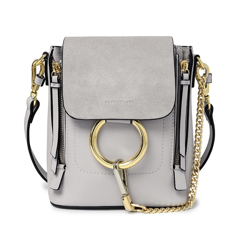 Genuine leather Ladies Circle Ring Chain Cross-body backpack Nubuck cover Leather women solid color brand designer knapsack цена