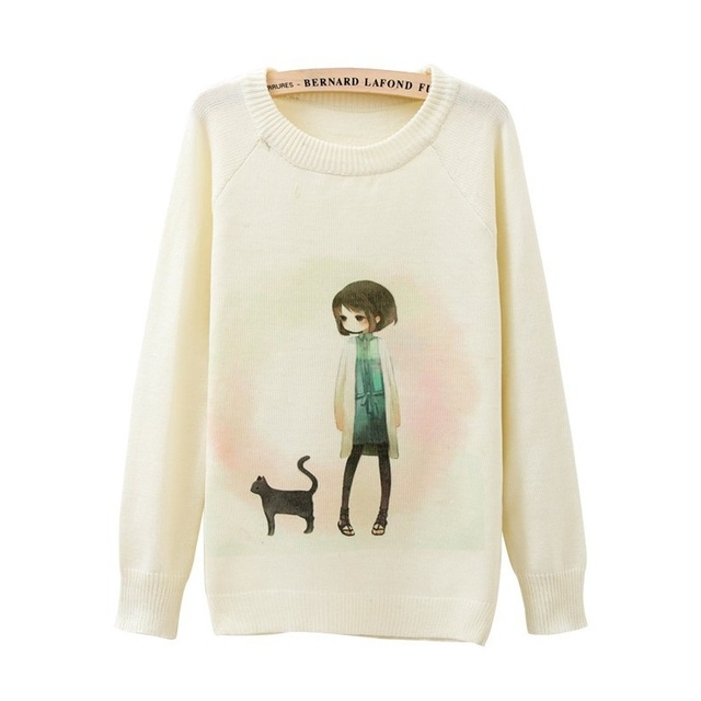 2015 winter Casual tops for womens sweater Little girl Print long ...
