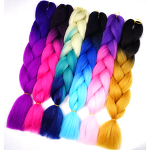 "Silky Strands 24"" 100g Ombre Synthetic Braiding Hair Extensions For Crochet Braids Kanekalon Jumbo Braids Two Tone Ombre Color"