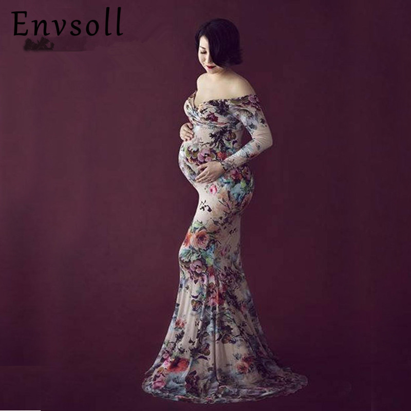 Envsoll Elegant Long Floral Dress For Photo Shoot Maxi Maternity Dresses Photography Props Clothes For Pregnant Women Vestidos elegant round collar long sleeve jacquard maxi dress for women