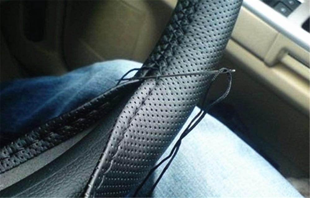 Piezas de automóvil de fibra suave de cuero trenzada cubierta del volante para Chevrolet Miray Caprice Agile Stingray Aveo5 Matiz Lumina HHR