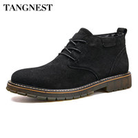 Tangnest NEW Winter Suede Leather Ankle Boots Men Solid Non Slip Rubber Shoes Casual Lace Up