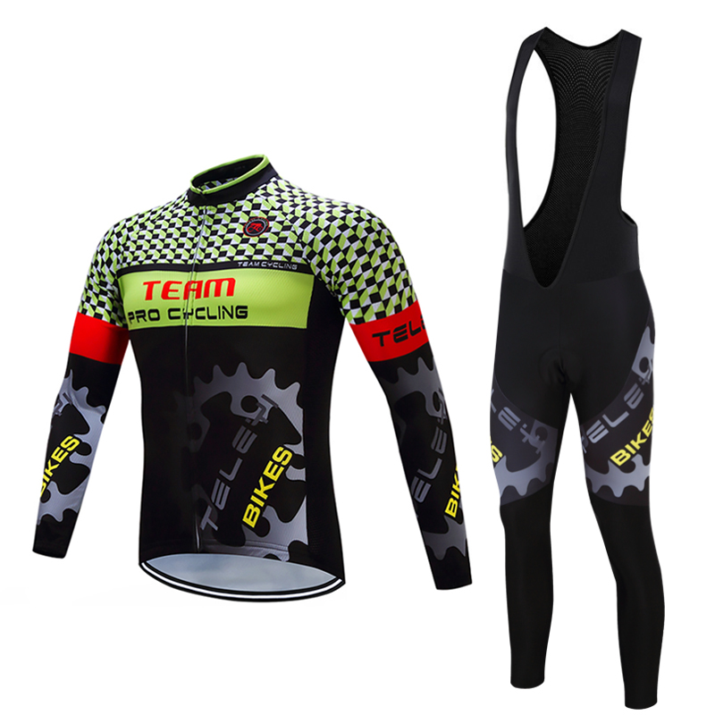 Men's Spring/Autumn Long Sleeve Cycling Jersey BIB Pants Sets Male 2017 China Pro Team Maillot Bicycle Clothing Kit Bike Clothes male team cycling jerseys autumn cycling clothes long sleeve bike jersey winter fleece bicycle riding suits free shipping
