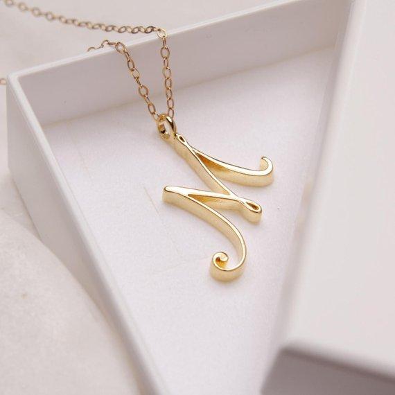 Маленький ярлык с буквами простой начальный логотип алфавит М ожерелье модный символ английские инициалы буквы Шарм кулон ювелирные изделия