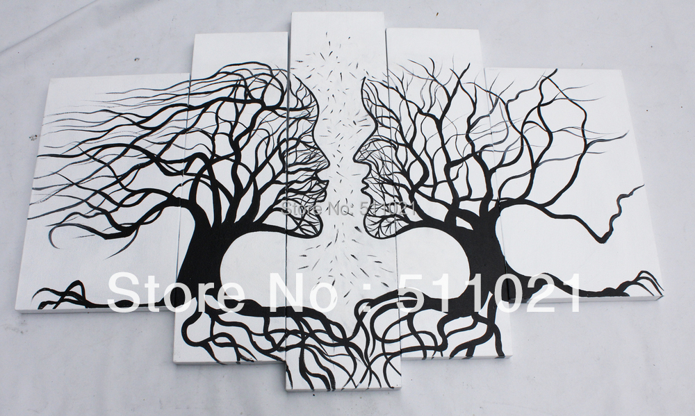 black and white tree painting abstract decoration landscape tree