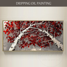 Large Size Modern Canvas Painting Tree Oil for Wall Decor Hand-painted Red Leaves Living Room